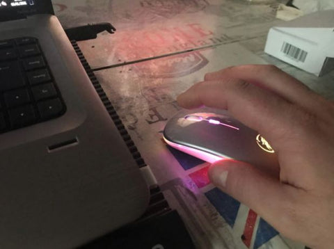 LED backlit silent laptop computer mouse with USB rechargeable cordless bluetooth