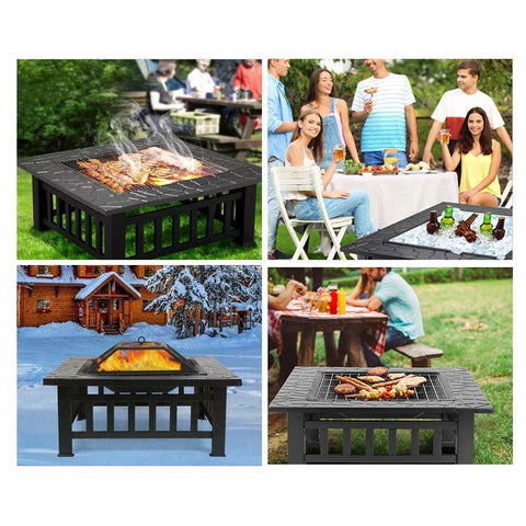 Fire Pit with Rain Cover - Warm Portable Fireplace and BBQ Grill