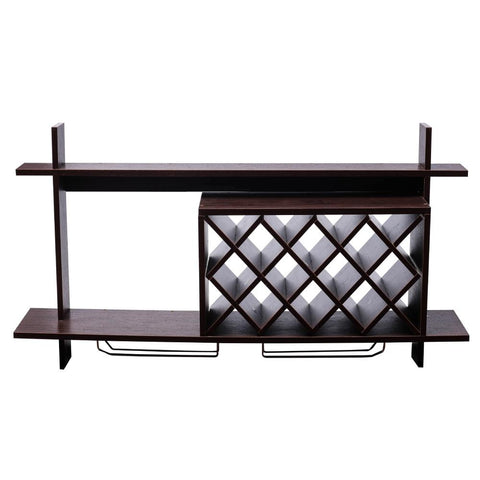 Wall Mounted Stylish and Contemporary Wine Rack with Shelf