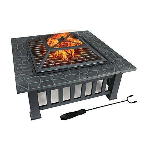 classic outdoor fire pit, bbq grill and ice cooler/beverage holder