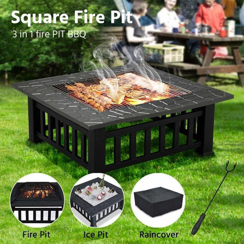 fire pit ice pit cooler and bbq grill portable outdoors