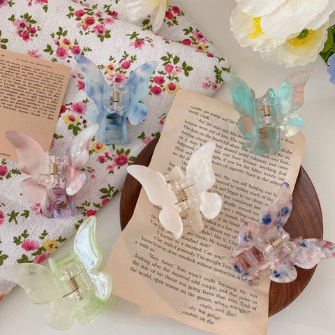 gradient colored butterfly hair barrettes