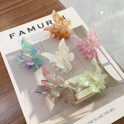 marble colored butterfly hair clips