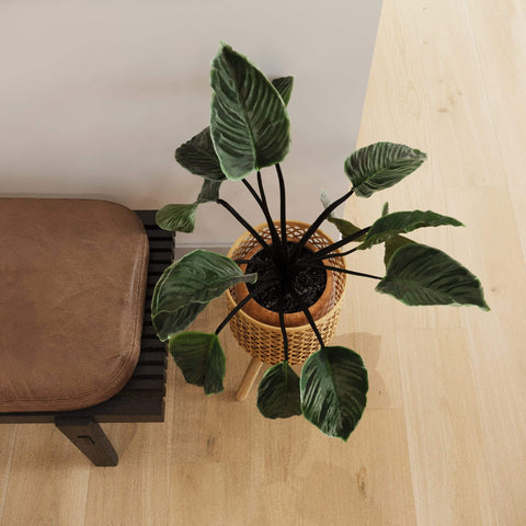 rustic bamboo planter basket for end table and hallway accessories