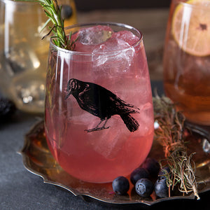 Crow Stemless Wine Glass-Counter Couture