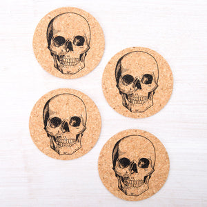 Skull Cork Coasters-Counter Couture