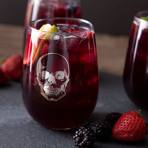Skull Stemless Wine Glass-Counter Couture