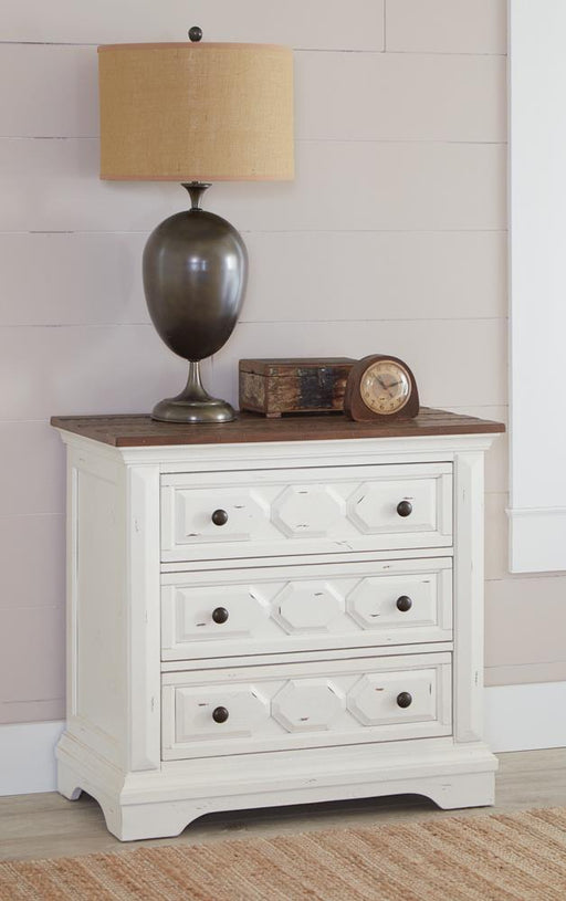 Traditional Rustic Latte and Vintage White Nightstand image