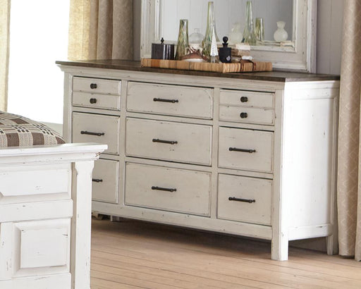 Traditional Rustic Latte and Vintage White Dresser image