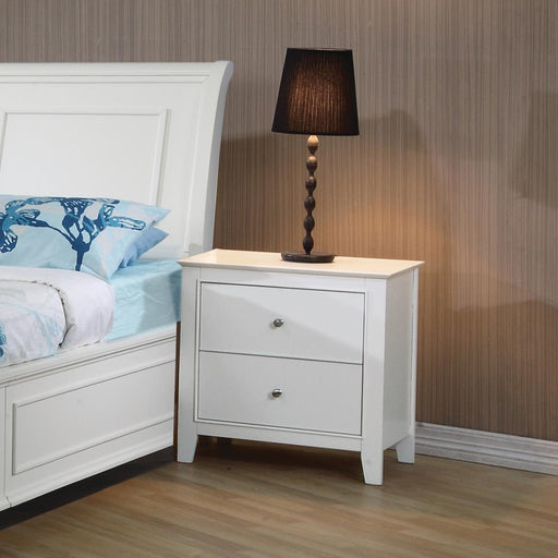 Selena Contemporary White Two-Drawer Nightstand image