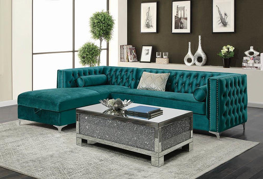 Bellaire Contemporary Teal and Chrome Sectional image