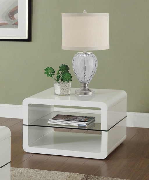 Modern White End Table image