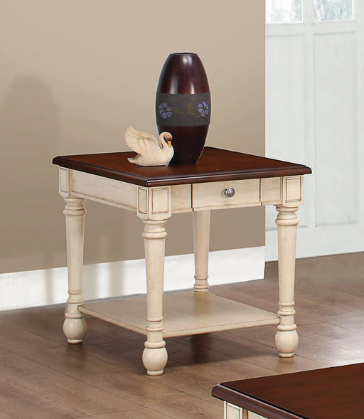 Transitional Dark Brown/Antique White End Table image