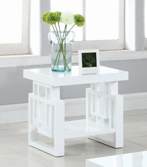 Transitional Glossy White End Table image