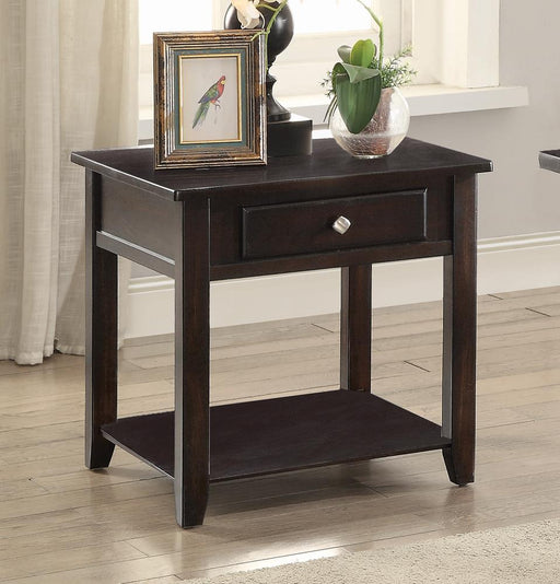 Transitional Walnut One-Drawer End Table image
