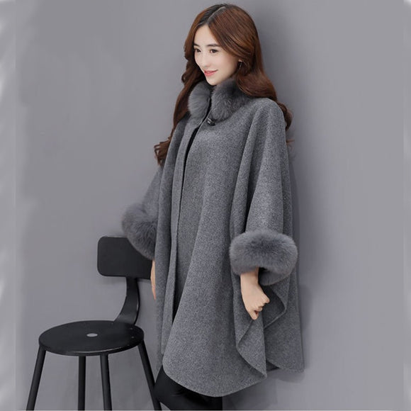 New Arrivals Women Fox Fur Collar Long Wool Coat Elegant Women Cloak Shawl Jacket Plus Size Female Winter Outwear New Bigsweety