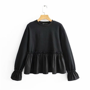 2020 Spring Women's New Round Neck Long Sleeve Fashion Loose Black Laminate Decorative Splice Hoodie
