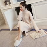 Korean Sweater Dress Women Knitted Sweaters Dresses Women Over-knee Sweater Dress Plus Size Split Turtleneck Sweaters Dresses OL