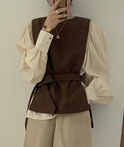 Women Autumn Winter Sleeveless Sweater Slim Waist Vintage Bow Tie Belt Cashmere Knitted Waistcoat Vest Wrapped Jumpers