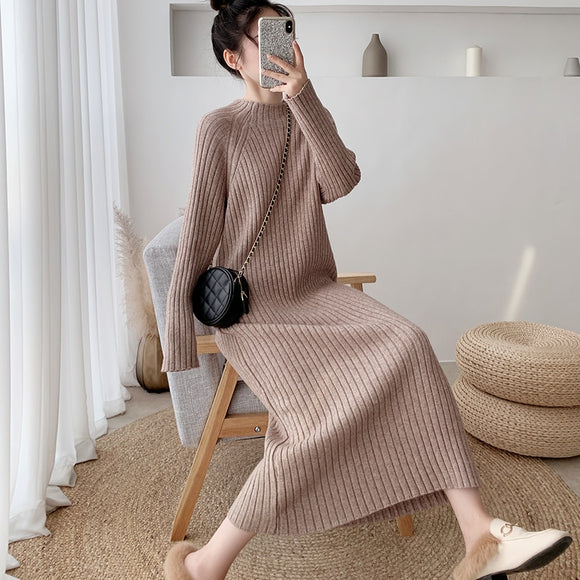 Autumn Women Bodycon Sheath Sweater Dress Knitted Cotton Long Sleeve Casual  Midi