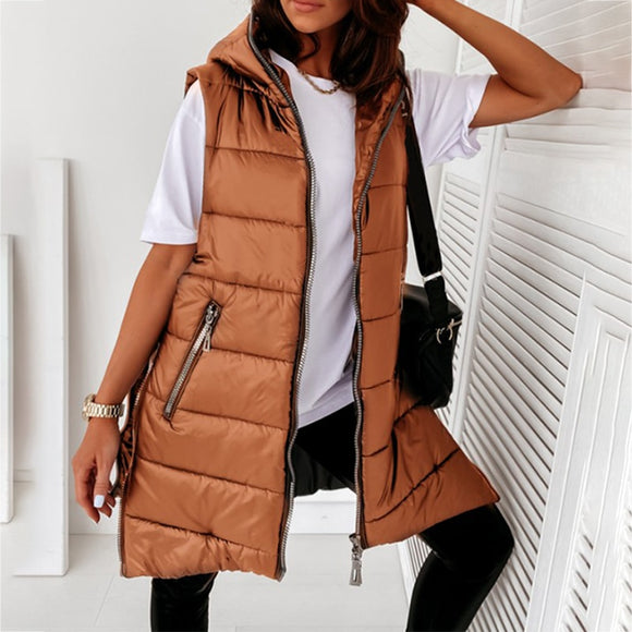 New Spring Autumn Jacket Woman Outwear Coat Hooded Jackets Female Fashion Medium Length Parka Sleeveless Lightweight Clothing