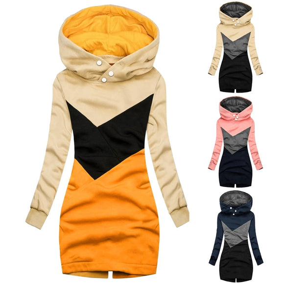 Fashion Women Sweatshirt Patchwork Casual Long Sleeve Slim Fitting Hooded Tops Pullovers Ladies Long Hoodies Winter Sweatshirts
