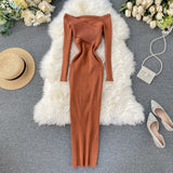 Slim 2021 Off Shoulder Cross Criss Autumn Knit Sweater Midi Long Dress Bodycon Party Winter Sexy Women Casual elegant Vestidos