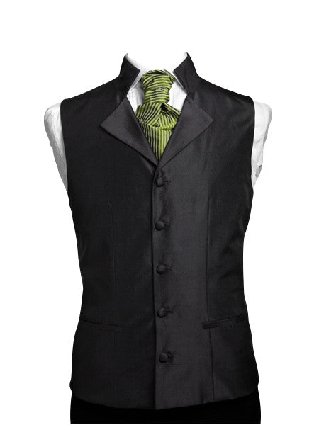 Waistcoat with high collar and lapel silk taffeta