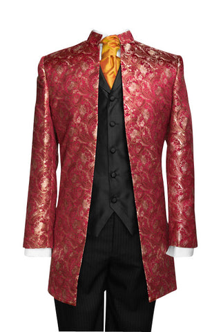 "Jacket ""Nehru"" in red silkbrocade"