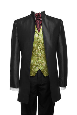 "Jacket ""Nehru"" in black taffeta"