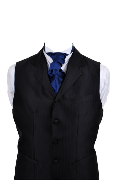 Cravat in blue silk taffeta