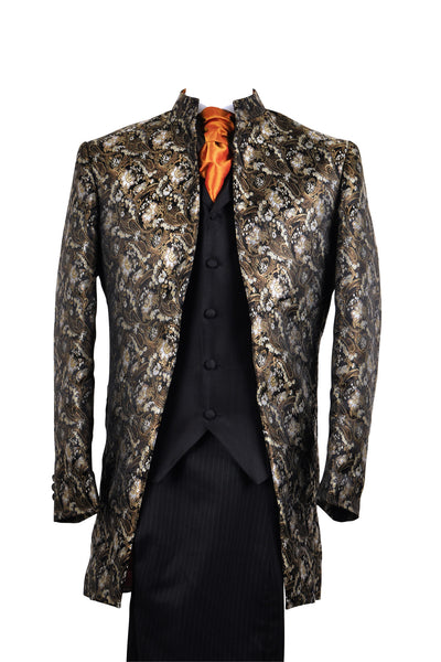 "Jacket ""Nehru"" in black silkbrocade"