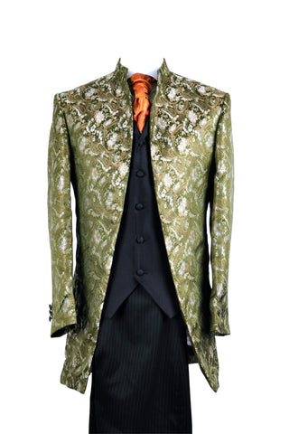 "Jacket ""Nehru"" in green silkbrocade"