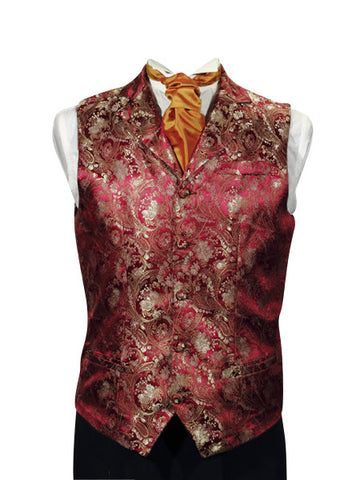 Waistcoat in red silkbrocade - By Eneroth