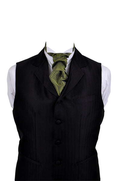 Cravat with green striped, silk taffeta
