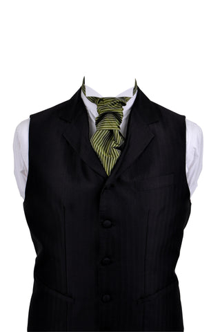 Cravat with green striped, silk taffeta - By Eneroth