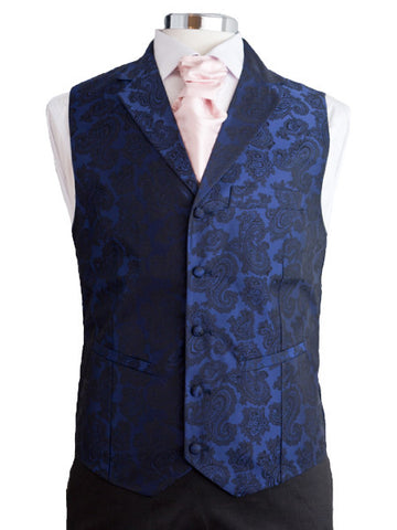 Waistcoat with lapel - Blue silkbrocade - By Eneroth