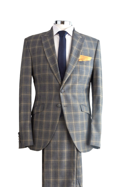 "Suit ""Guénon"" in grey checked wool"