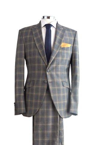 "Suit ""Guénon"" in grey checked wool - By Eneroth"