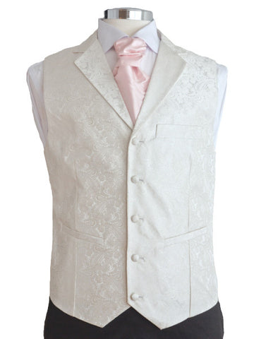 Waistcoat with lapel - Ivory silkbrocade - By Eneroth