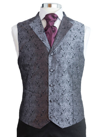 Waistcoat with lapel- Silver silkbrocade - By Eneroth