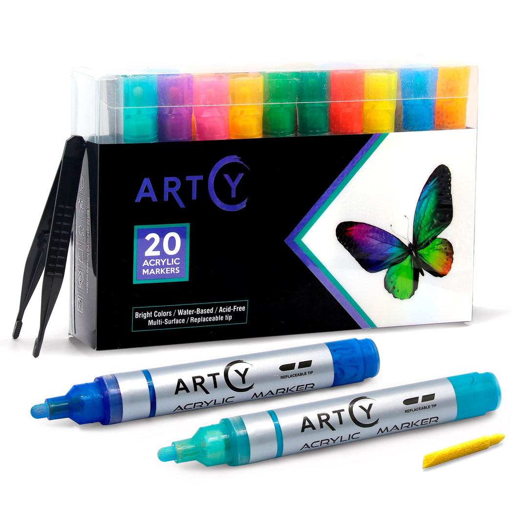 Acrylic Markers | Broad Tip | Set of 20