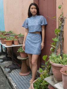 MADEBYTDA FAYE LACE MANDARIN COLLAR TOP (DUSTY BLUE)