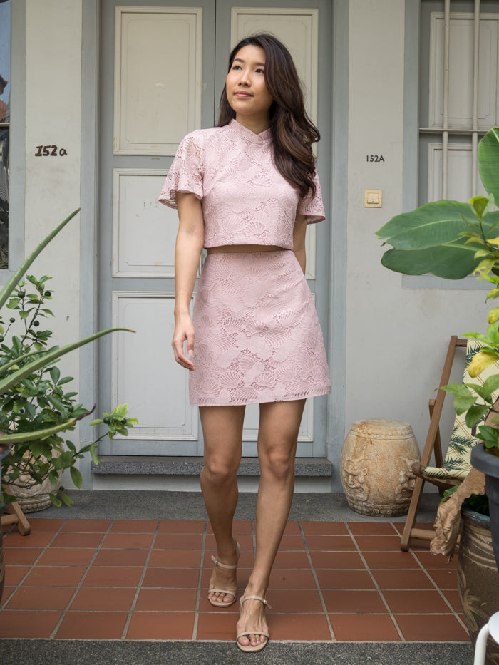 MADEBYTDA RAE LACE SKIRT (DUSTY PINK)