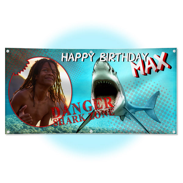 Personalized Shark Birthday Party Banner
