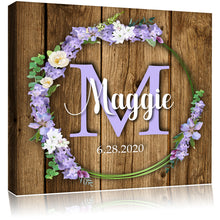 Load image into Gallery viewer, Personalized Monogram Name Mounted Artist Canvas - Dark Wood & Flowers