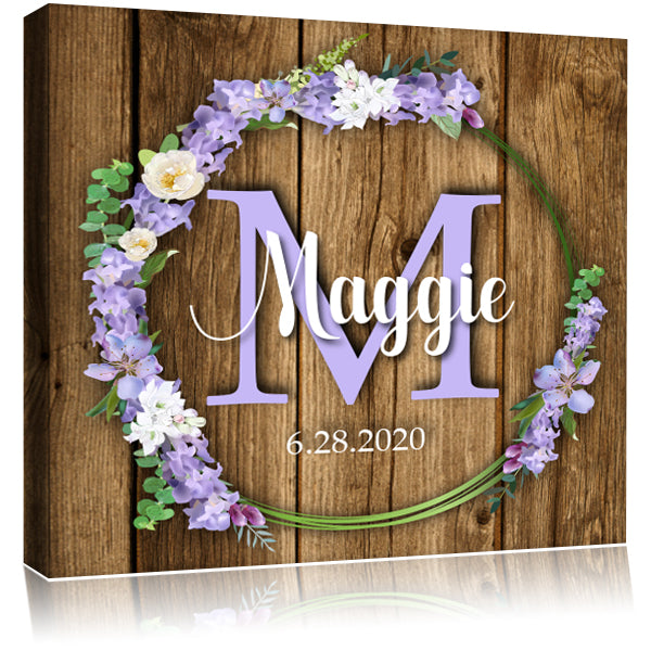 Personalized Monogram Name Mounted Artist Canvas - Dark Wood & Flowers