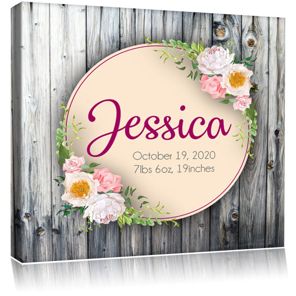Personalized Monogram Name Mounted Artist Canvas - Light Wood & Flowers