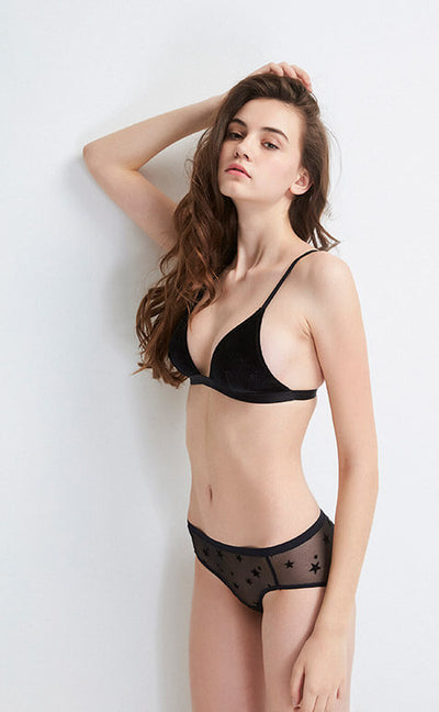 Whispering Stars • Embroidered Mesh Lace Mid Rise Panty - Celessa Soft Clothing