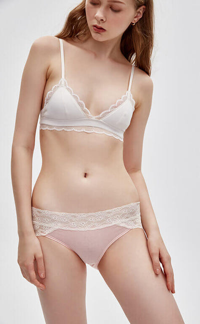 Gentle Love Songs • Mid Rise Cotton Lace Trim Hipster Panty - Celessa Soft Clothing